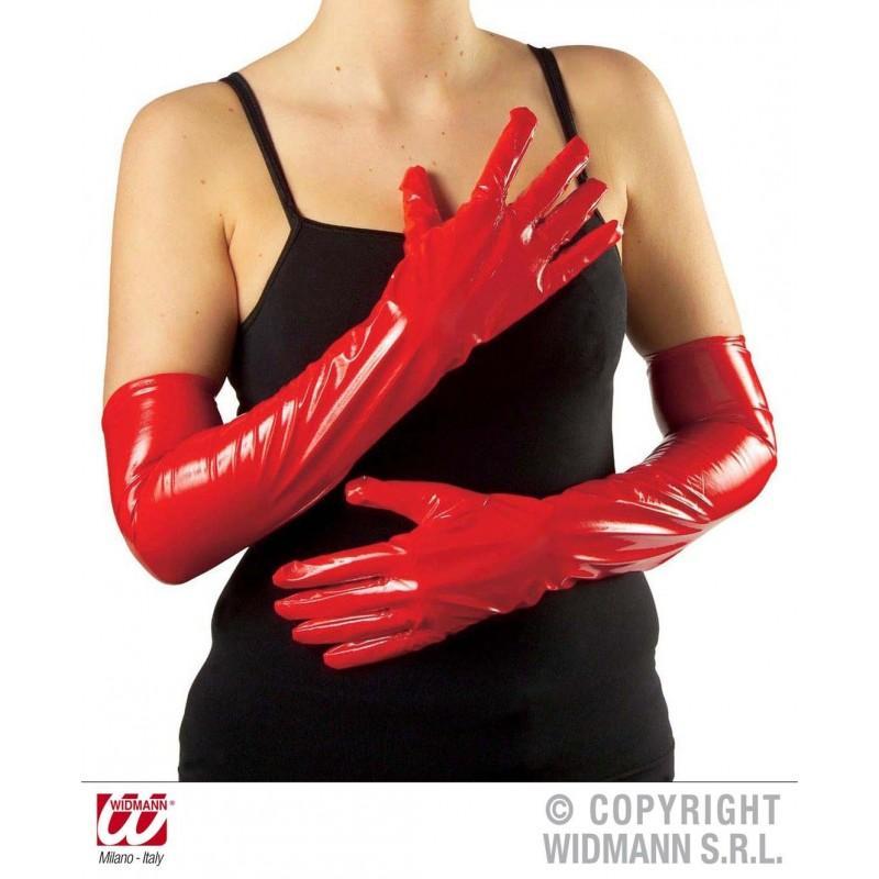 Guantes de vinilo rojo