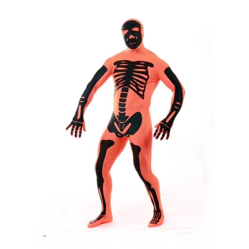 Disfraz de Esqueleto Naranja Morphsuit