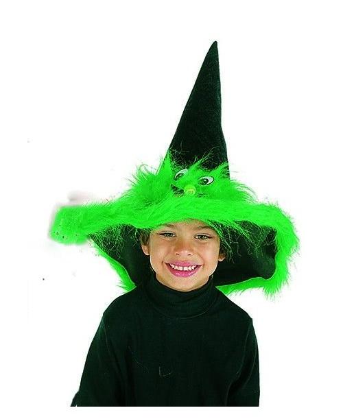 Sombrero Bruja Verde con Cara