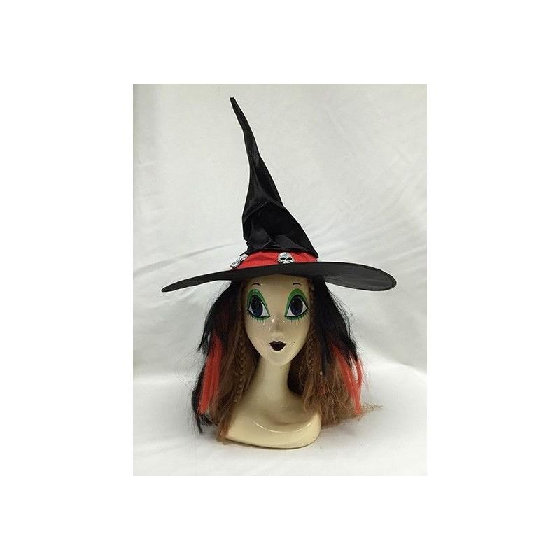Sombrero Bruja Calaveras con Peluca Roja y Negra