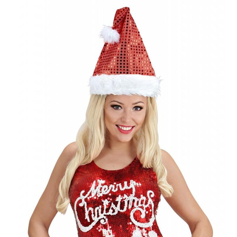 Sombrero Santa Claus Lentejuelas Rojo