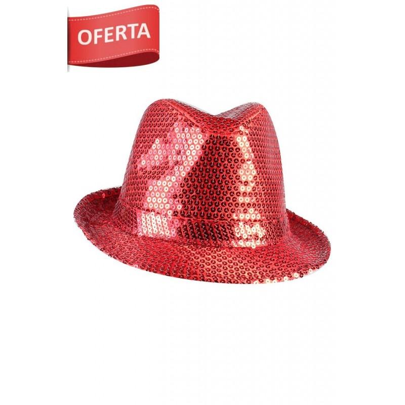 Sombrero Gangster Rojo Glitter