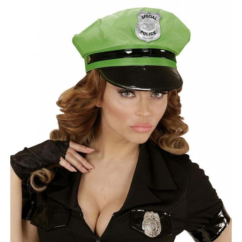 Sombrero Policiía Verde Neon