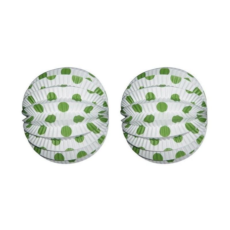 Farol Esférico Blanco Lunares Verdes