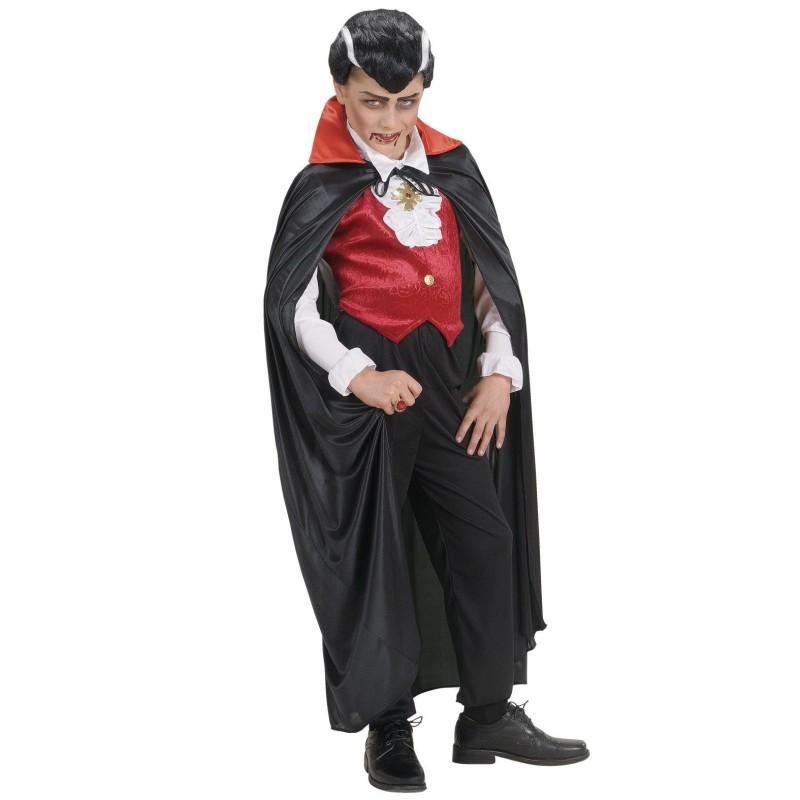 Capa Negra con Cuello de Raso Rojo