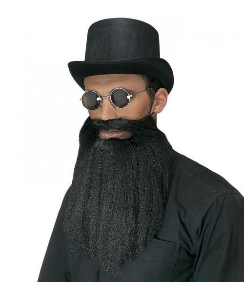 Barba y Bigote Negros con Labios