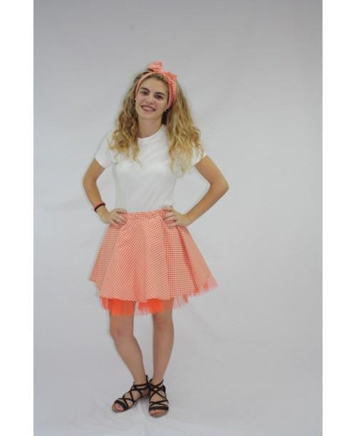 Falda de Vichy Colores con Tul para Adulto