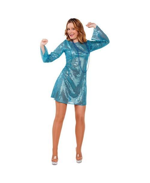 Disfraz de chica boogie azul