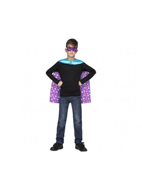Capa Super Héroe Azul Stars Infantil.
