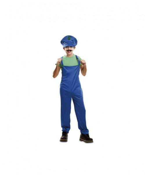 Disfraz de Super Fontanero verde Infantil.