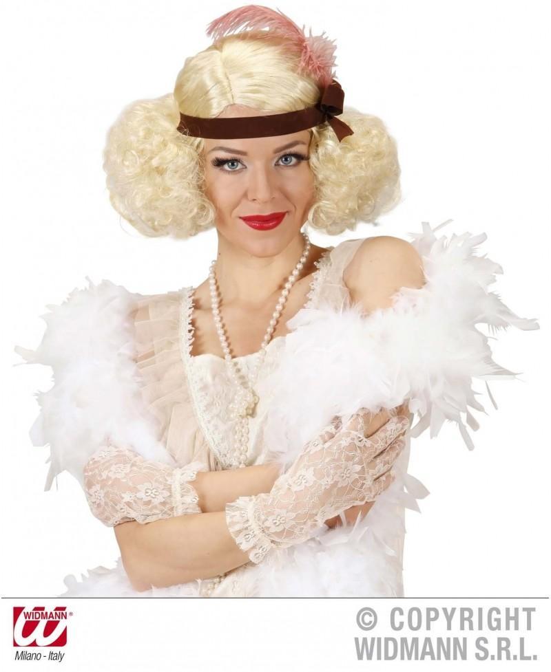 Peluca Burlesque rubia con cinta