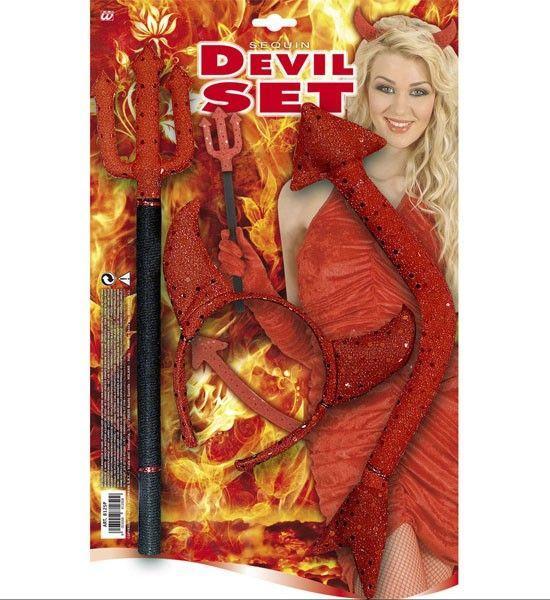 diadema Diablo lentejuelas conjunto tridente