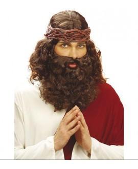 Peluca Profeta con Barba Marrón