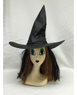 Sombrero Bruja Negro Ondulado