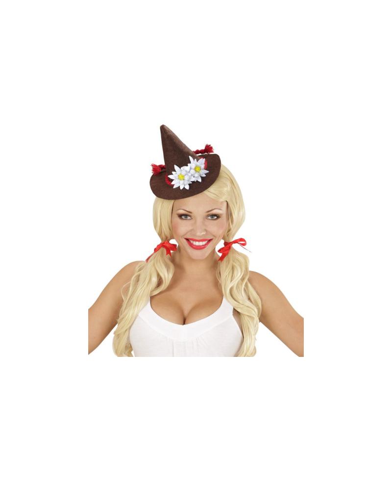 Mini Sombrero Bávaro Marrón con Edelweiss