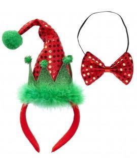 Mini Sombrero Elfo y Pajarita