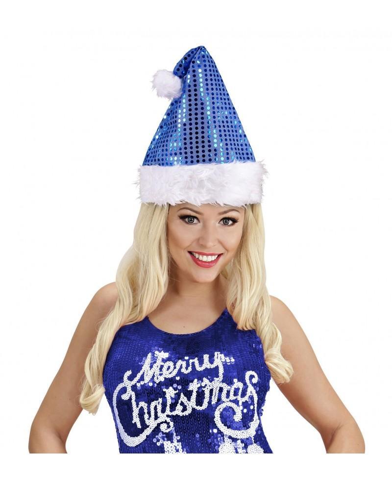 Sombrero Santa Claus Lentejuelas Azul