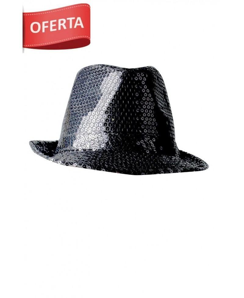 Sombrero Gangster Negro Glitter