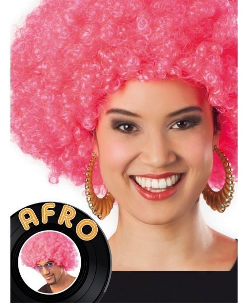 Peluca Afro Rosa