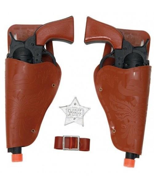 Set 2 Pistolas Cowboy Negras