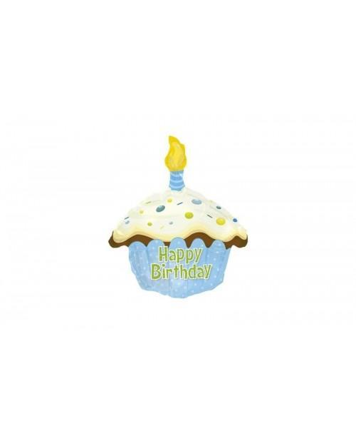 Globo Feliz Cumpleaños Cupcake Azul