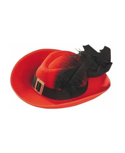 Sombrero Fieltro Mosquetero Lujo Rojo