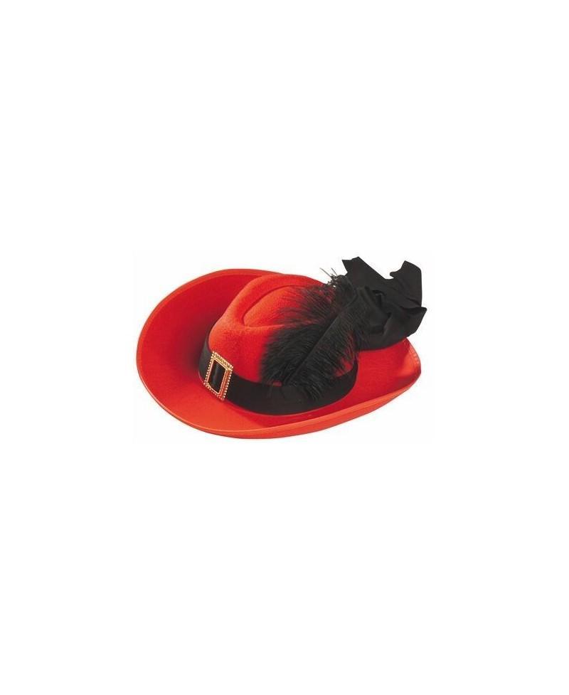 Sombrero Fieltro Mosquetero Lujo Rojo - Casa del disfraz® 81cd3637813