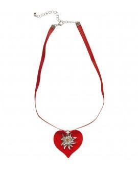 Collar Cinta Corazón Rojo con Edelweiss