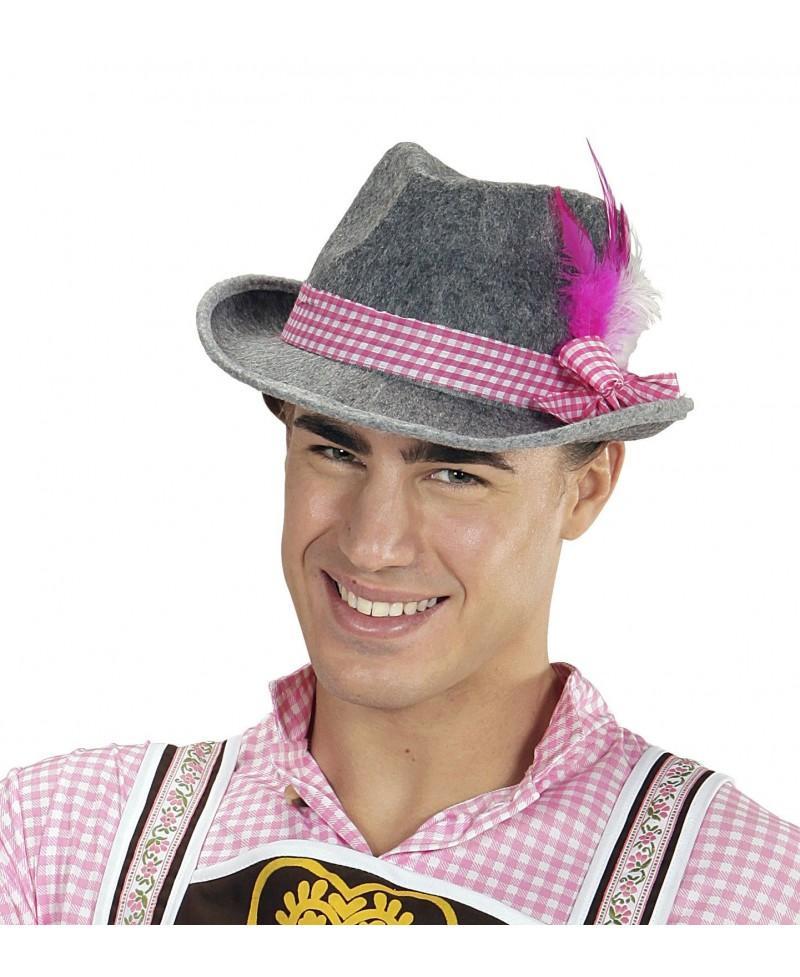 Gorro Bávaro con Plumas Rosa
