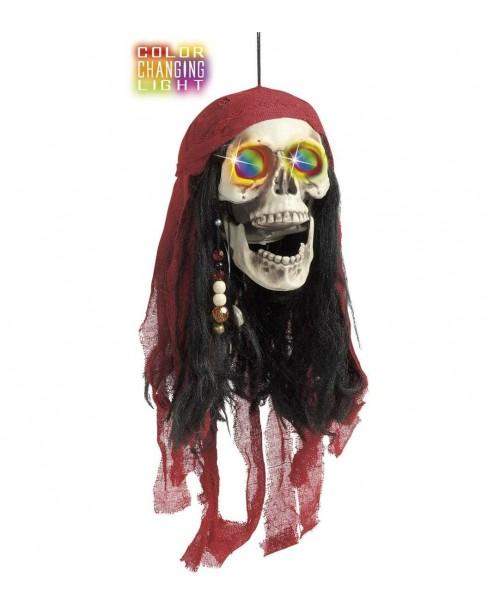 Calavera Pirata con Luces Colores