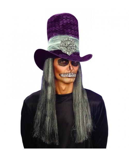 Sombrero Copa Calavera Terciopelo