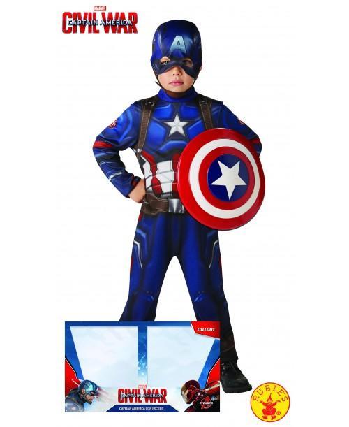 Disfraz de Capitán América Classic con Escudo para Niños