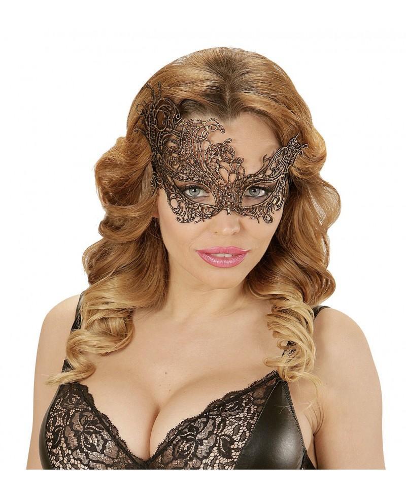 Máscara de Encaje Barroco Oro Antiguo