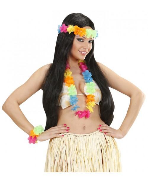 Set hawaiano multicolor brillo