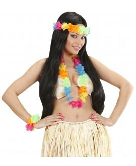 Set hawaiano multicolor brillo