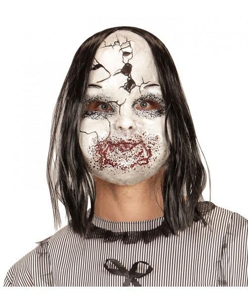 Máscara Muñeca Aterradora con Peluca