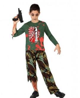 Disfraz de Militar Zombi Sangriento Niño