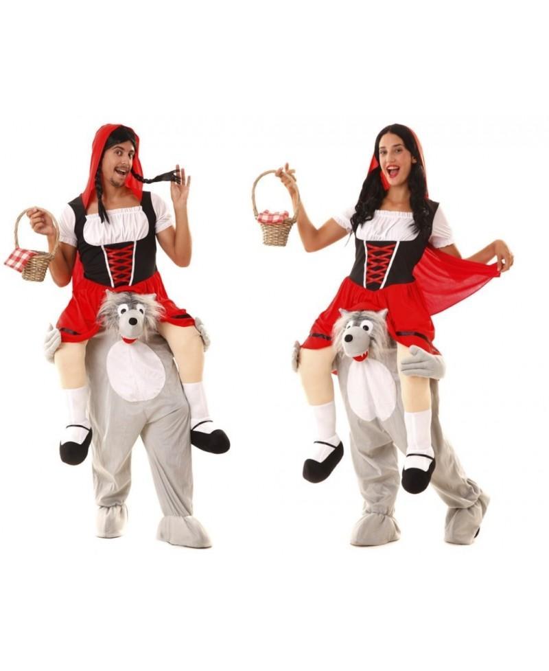 Disfraz de Lobo y Campesina Roja a hombros