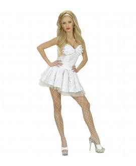 Falda Blanca con Lentejuelas y Encaje Blanco
