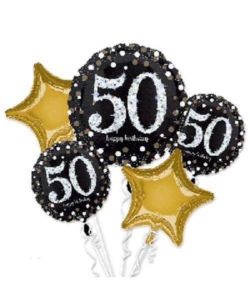 Bouquet Globos Foil 50 Cumpleaños