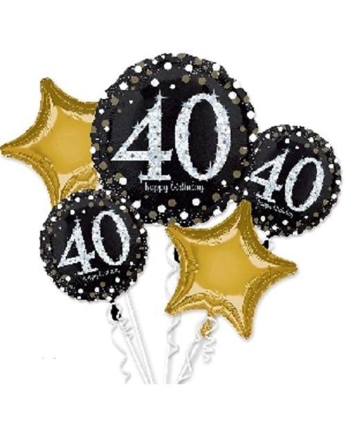 Bouquet de Globos Foil 40 Cumpleaños