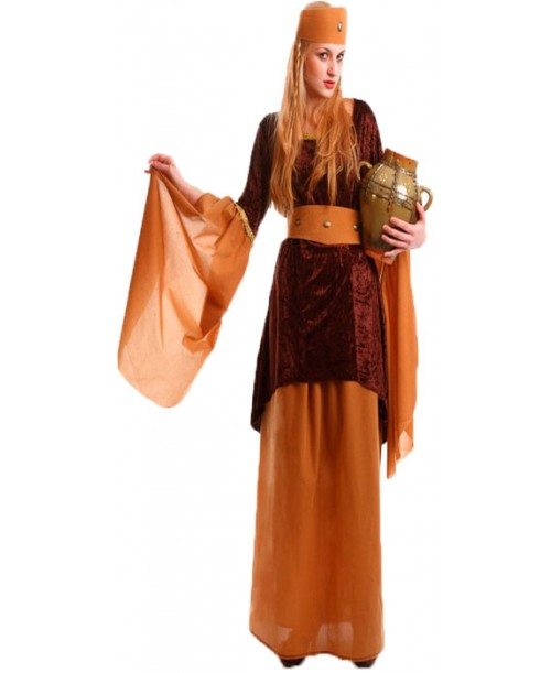Disfraz de Doncella Medieval Marrón